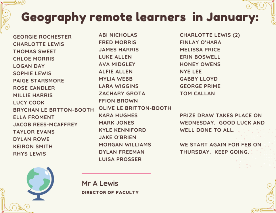 GEOGRAPHY REMOTE LEARNERS JANUARY