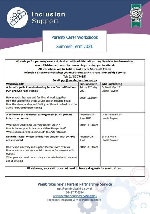 Inclusion Support Summer Workshops PCC